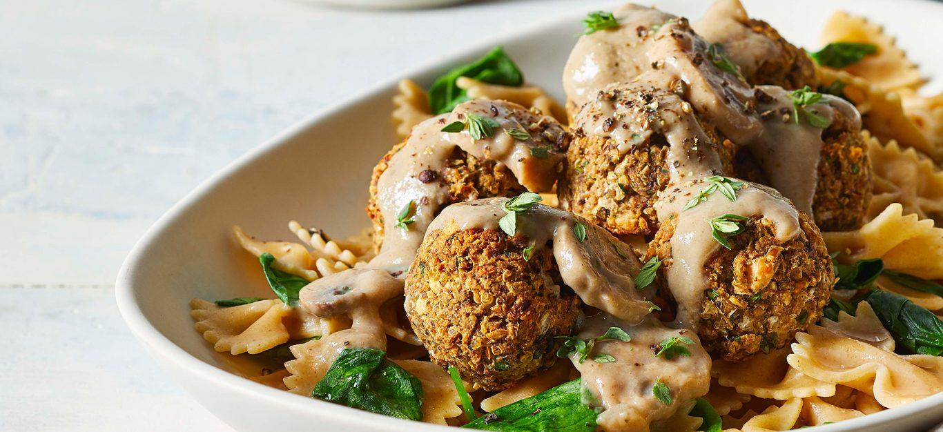 Mushroom Stroganoff with Wheatballs in a white bowl