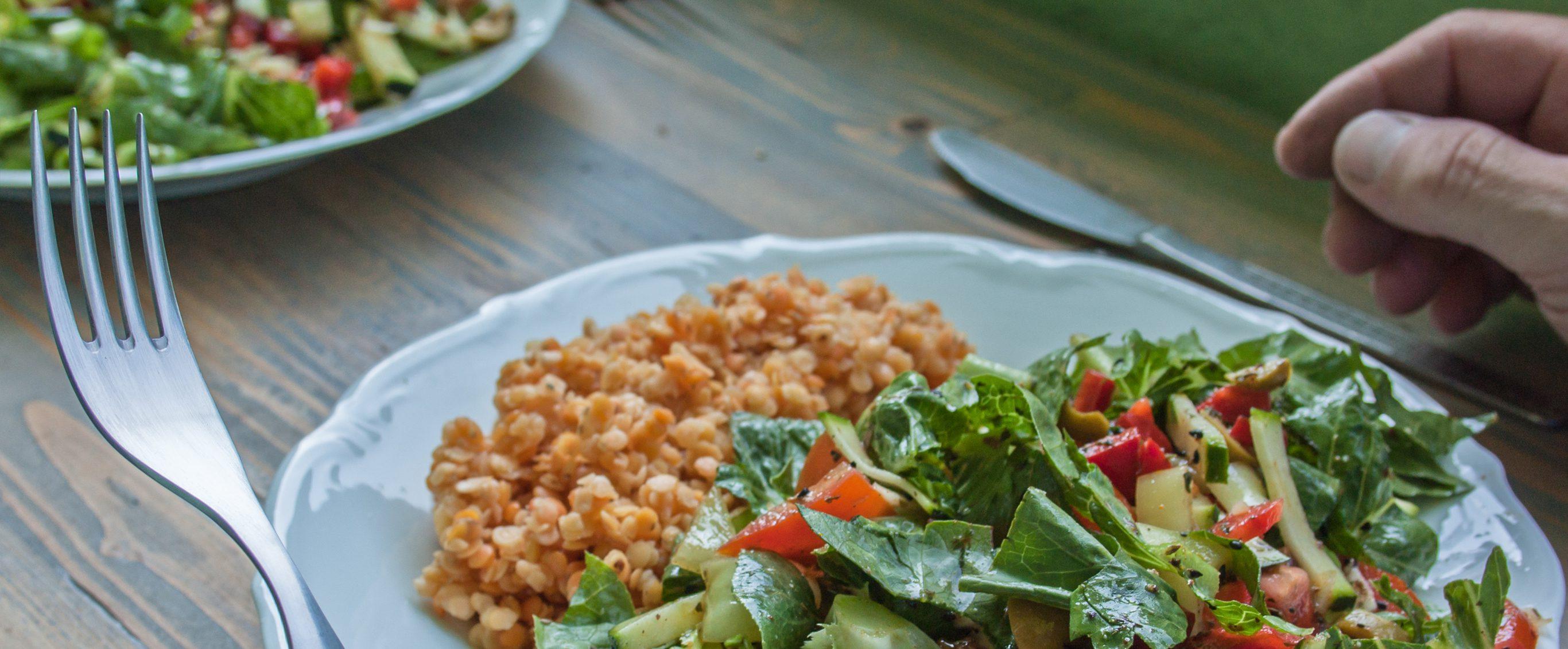 lentils and salad