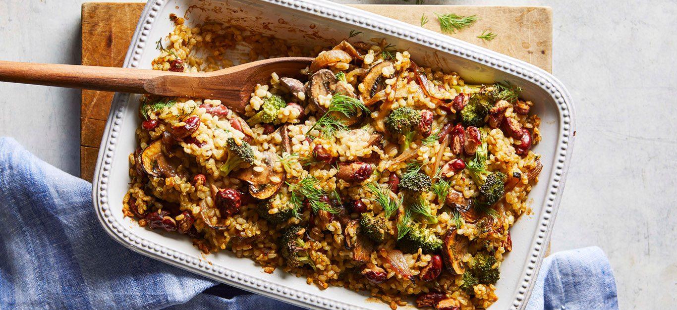 cheesy kidney bean rice vegan casserole
