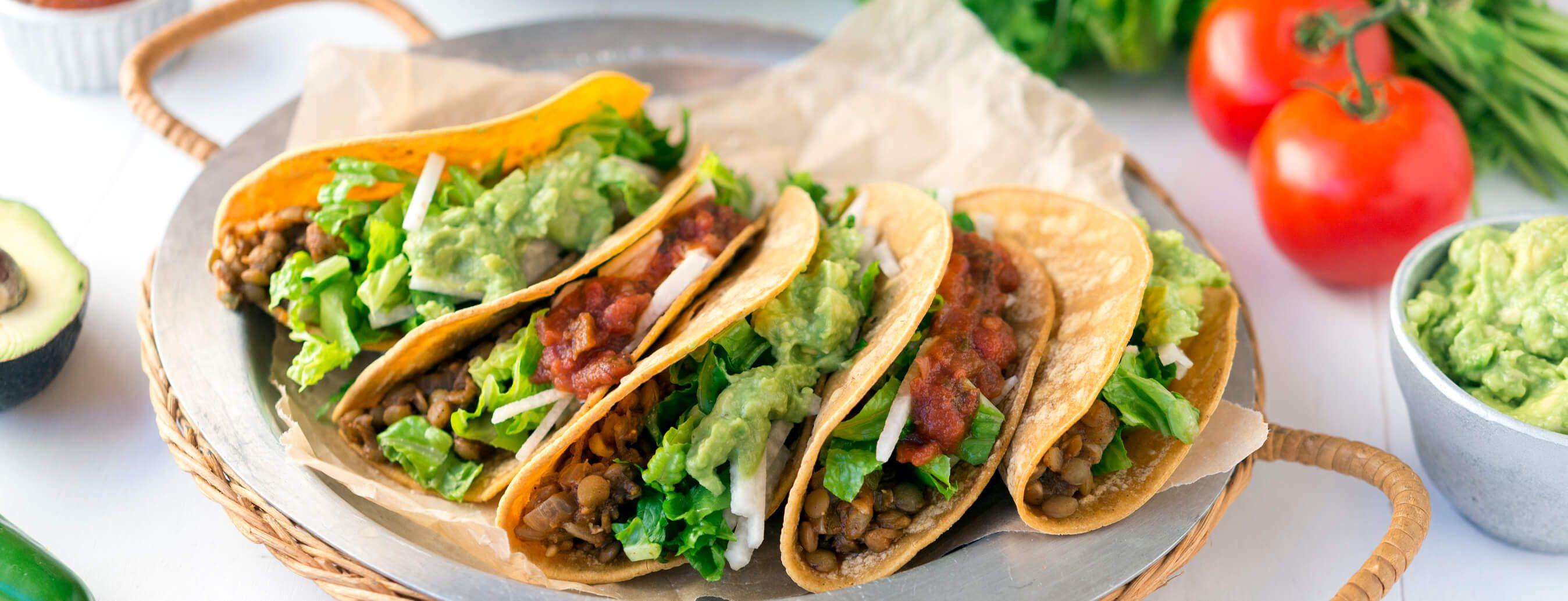 lentil tacos, plant-based